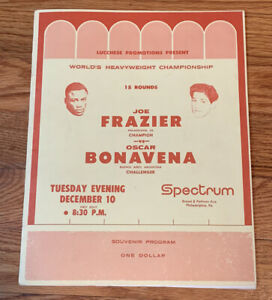 Original 1968 Joe Frazier Vs. Oscar Bonavena On-site Boxing program, Great Shape