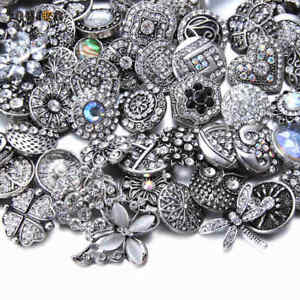 20pcs 18mm Snap Button Top Rhinestone Multi Metal Charms For Snap Jewelry HM076