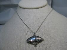 """Vintage Sterling Siam Fan, Necklace,  Signed AA, 18"""" Sterling Chain, 3.78gr"""