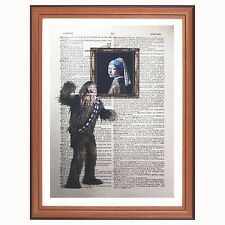 Chewbacca Vs Johannes Vermeer - dictionary art print Pearl earring Star wars