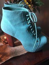 Jeffrey Campbell Suede Lita Platform Ankle Boots ~ Teal ~ Size 7