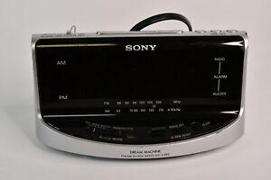 Sony Dream Machine FM/AM Clock Radio #ICF-C492 Silver Tested