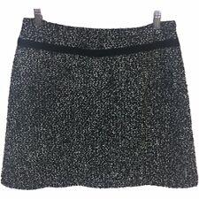 Lapis L Large Skirt A-Line Textured Tweed Like Knit Mini Short Black Gray Womens