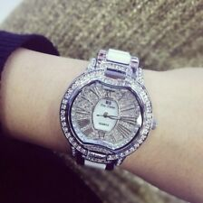 Iced Chunky Bling Unisex Watch Stainless Quartz Water Resistant WHITE Band Cool
