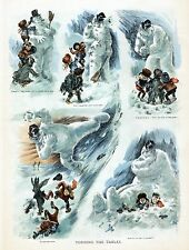 CHILDREN KIDS MAKE SNOWMAN BROOM HAT SNOWBALL FIGHT WITH SNOWMAN LITHOGRAPH