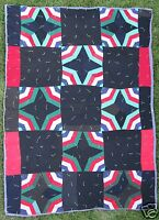 VINTAGE AFRICAN AMERICAN ABSTRACT OUTSIDER FOLK ART 1930 QUILT GREEN CASTLE MO