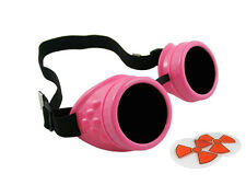 NEON PINK CYBER GOGGLES STEAMPUNK WELDING GOTH COSPLAY