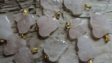 Rose Quartz Leaf set (pk 100) carved stone pendant with GOLD loop size varies