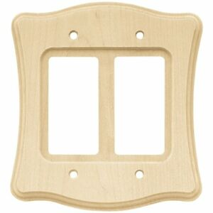 64630 Scallop Unfinished Wood Double GFCI Wall Plate