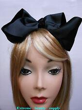 black Handmade Big huge Girl Extra Large Boutique JUMBO Satin clip Hair Bow