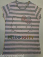 ☆ M&S HELLO KITTY Girls Grey/Pink Striped Diamante T-Shirt Top Age 10 years ☆