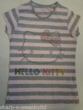 M&S hello kitty filles gris/rose à rayures Diamant Haut T-shirt âge de 10 ans