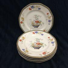 """Theodore Haviland Limoges Ganga Floral Basket Set 5 Dinner Plates 9.5"""" Vintage"""