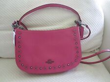 55f9b76a8d NWT Coach Floral Rivets Leather Chelsea Crossbody Dahlia Pink  Dark Nickel  37711