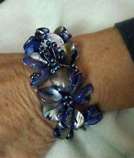 Dyed Blue MOP Shell Flower Bracelet