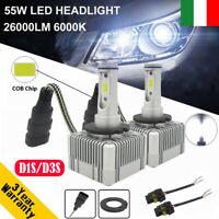 COPPIA LAMPADE LED DA AUTO FARI D1S D3S KIT LAMPADINE 55W LUCE BIANCA 6000K FARO