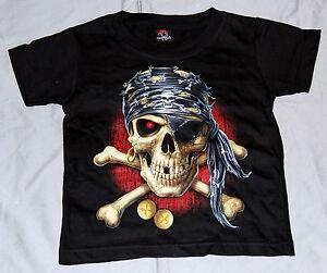 Kinder T-Shirt Pirat Totenkopf Gr. 2-4Jahre bis Gr. S Sonder Angebot