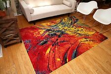 5 x 7 White Blue Yellow Red Modern Paint Splat Multicolor Area Rug 6x8 NEW