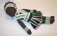 "Vintage 60's African Zulu Handmade Felt Doll Beaded Outfit  Headpiece 12"" tribal"