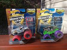 Hot Wheels Monster Jam Color Treads Ice Cream Man & Grave Digger with Team Flags