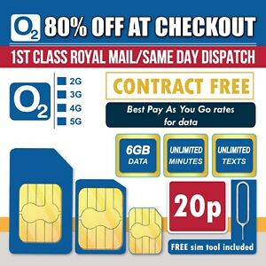 O2 Sim Card - 6GB - Unlimited Calls & Texts for £10 Top UpPay As You Go  PAYG