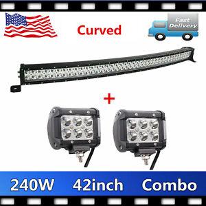 Curved 240W 42'' LED Light Bar 6000K 12V 24V &4'' 18W Small Lights Car Tundra VS