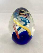 Art Glass Paperweight- Egg Shaped-Cobalt Blue/Orange/Yellow/Turquo ise-4.5�