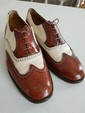 Vintage Tan And Beige Brogue Shoes Size 9 two tone Spats
