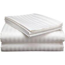 White Stripe Queen Sheet Set 4 Piece 800 Thread Count Egyptian Cotton