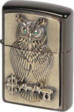 Zippo Original Feuerzeug Regular / Ebony Emblem Messing Owl of Wisdom / Holzetui