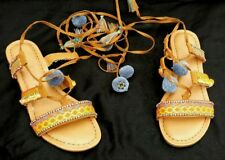 Sugar Shoes Womens Multi-Color Gladiator Slides String up leg Sandals Size 6M