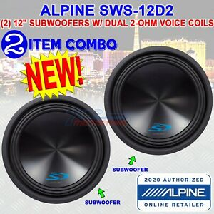 """(2) ALPINE SWS-12D2 TYPE-S 12"""" SUBWOOFERS WITH DUAL 2-ohm VOICE COILS 3000 WATTS"""