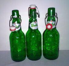 TEN REUSABLE BEER BOTTLES Grolsch Green Glass with Flip Bail type Top 15.2 oz