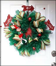 Naughty or Nice Christmas Elf Holiday Deco Mesh Door Wreath {Handmade}