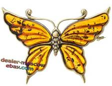 Bronze Solid Brass Baltic Amber Female Ornament Brooch Butterfly Vanessa IronWor