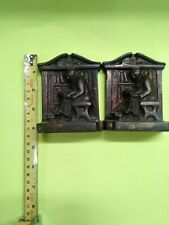 Vintage Bookend Ronson Art Deco 1922 The Library Monk Reading Friar Book Ends