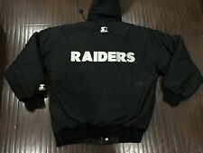 Vintage🔥 Starter NFL Oakland Raiders Black Zip Snap Jacket Sz Medium Men's RARE