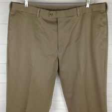 Perry Ellis Portfolio Mens Size 44 x 30 Taupe 100% Cotton Flat Front Dress Pants