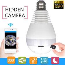 360° Panoramic Hidden Fish Eye Camera LED Light Bulb 1080P HD Wifi CCTV Security