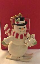 "Lenox Skiing Snowman Christmas Ornament w/Box 3.5""H"