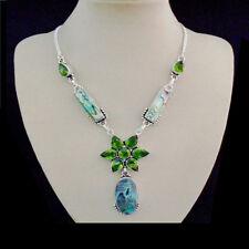 Paua Abalone Muschel Blüte grün Design Halskette Collier Silber plattiert neu