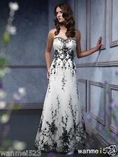 Gothic Wedding Dress White Black 2017 A Line Lace Bride Gown Size 2 4 6 8 10 12+