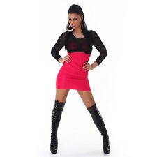 * Sexy Langarm Kleid Minikleid halbtransparent gerafft Schwarz Pink 34 36 38 S M