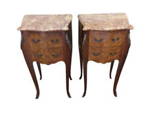 Marble Top Vintage French Night stands, Walnut and Inlay's, 1940's