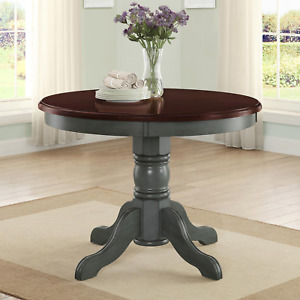 Round Wood Dining Table Kitchen Breakfast Nook Card Game Desk Farmhouse Rustic