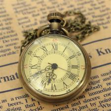 Chic Antique Vintage Bronze Glass Steampunk Pocket Watch Chain Necklace Pendant