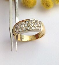 ANELLO DUE ORI 18KT CON PAVE' DI CUBIC ZIROCNIA - 18KT SOLID YELLOW GOLD RING