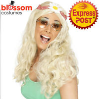 W759 Blonde Groovy Wigs Costume Daisy Headband 1960s Hippy Hippie Wig 60s 70s