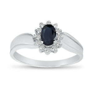 LXR 10k White Gold Oval Sapphire And Diamond Ring