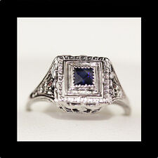 Vintage engagement ring, Art Deco Sapphire engagement ring, white gold filigree